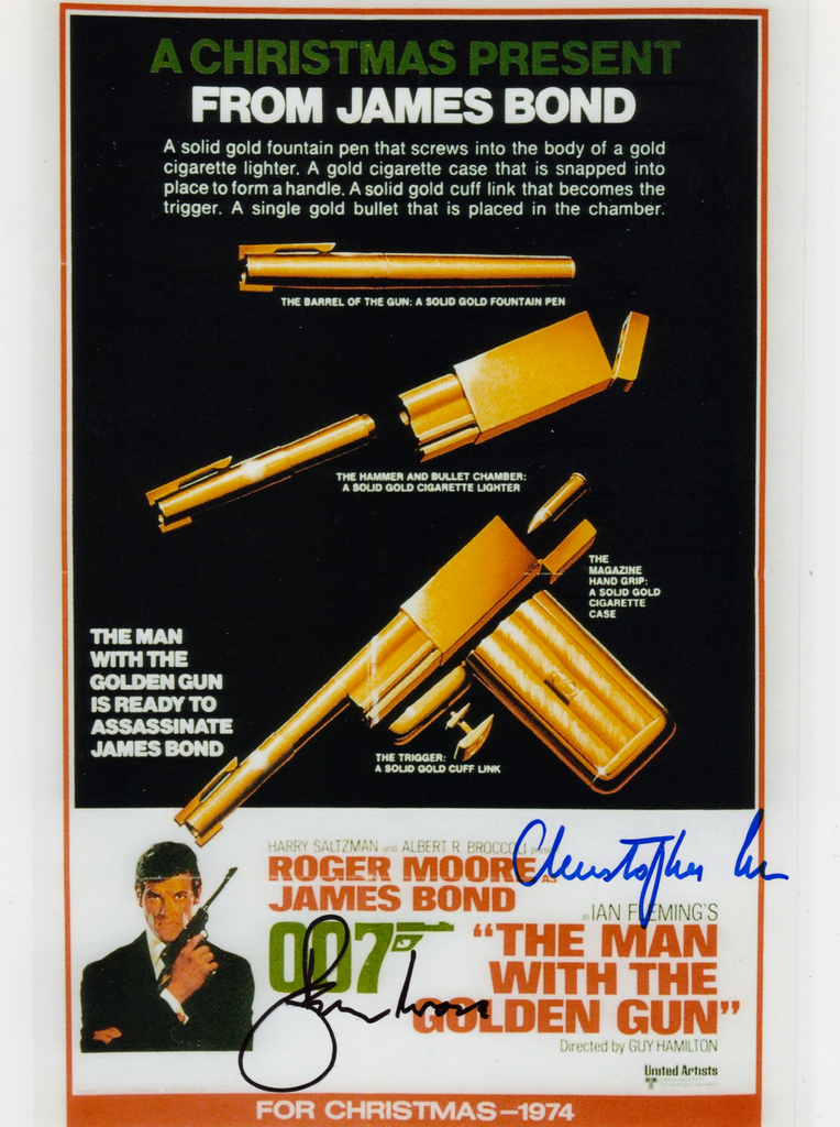 ROGER MOORE & CHRISTOPHER LEE IN PERSON SIGNED PHOTO FROM THE MAN WITH THE GOLDEN GUN