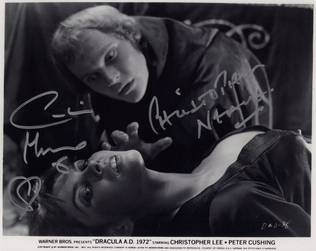 DRACULA A.D. 1972 IN PERSON SIGNED PHOTO WITH CAROLINE MUNRO & CHRISTOPHER NEAME