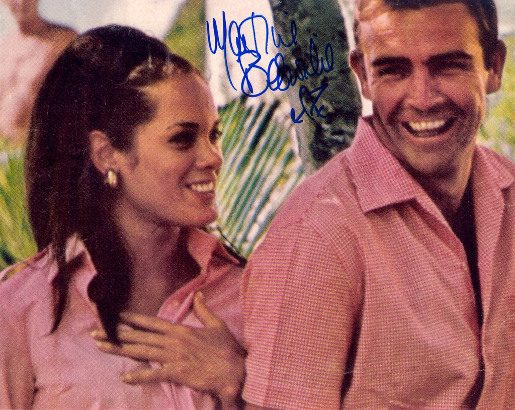 JAMES BOND GIRL MARTINE BESWICK THUNDERBALL FROM RUSSIA WITH LOVE ON SET SIGNED PHOTO