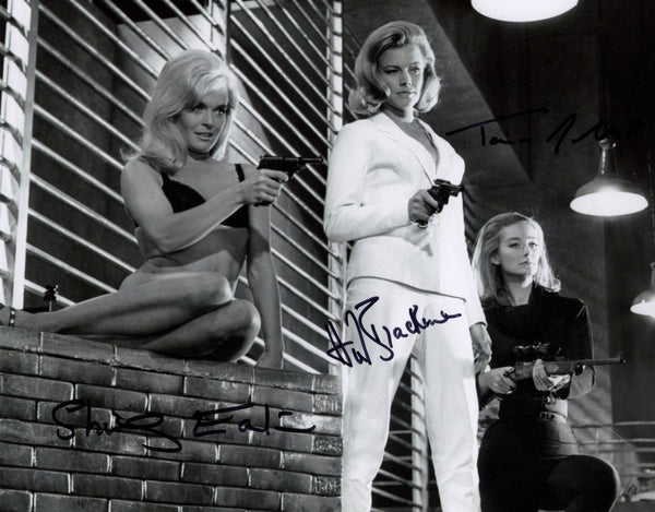 JAMES BOND GIRLS SIGNED PHOTO GREAT SHOT FROM THE 1964 JAMES BOND FILM GOLDFINGER JOINTLY SIGNED BY SHIRLEY EATON,HONOR BLACKMAN & TANIA MALLET