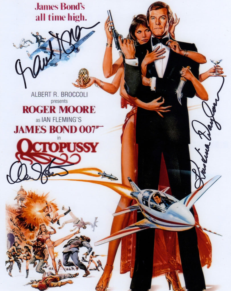 JAMES BOND AUTOGRAPHED PHOTO OCTOPUSSY MAUD ADAMS , KRISTINA WAYBORN , MARY STAVIN