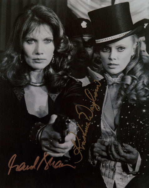JAMES BOND IN PERSON SIGNED PHOTO MAUD ADAMS & KRISTINA WAYBORN