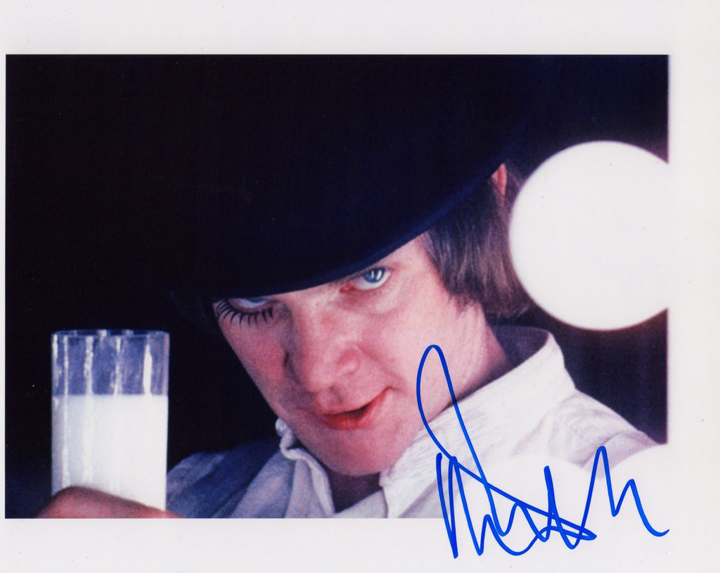 MALCOLM McDOWELL A CLOCKWORK ORANGE IN PERSON SIGNED SHOT