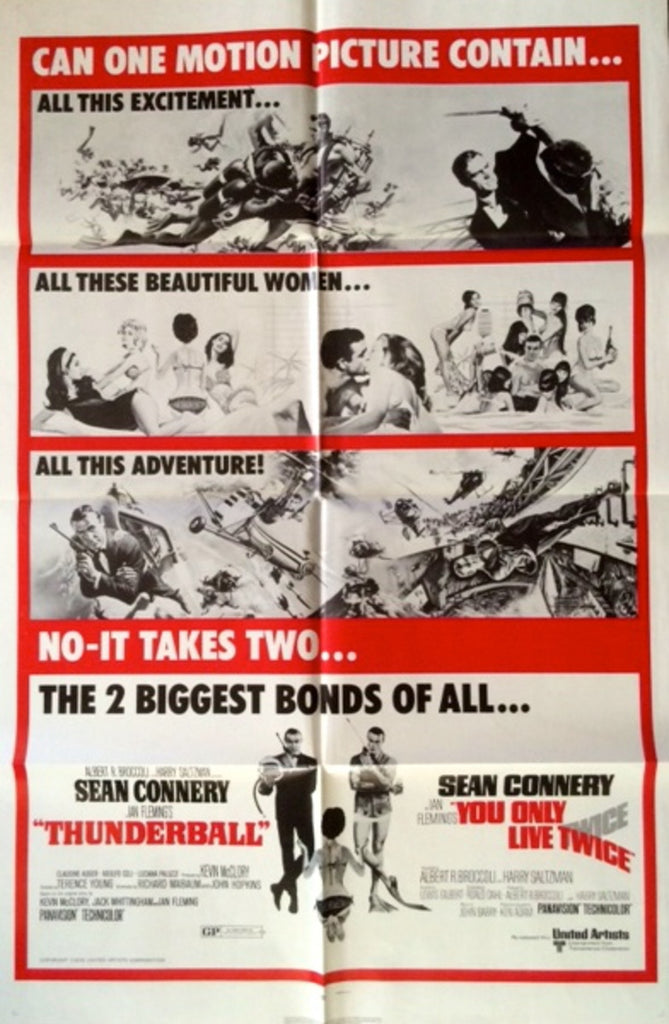 JAMES BOND THUNDERBALL & YOU ONLY LIVE TWICE COMBO POSTER
