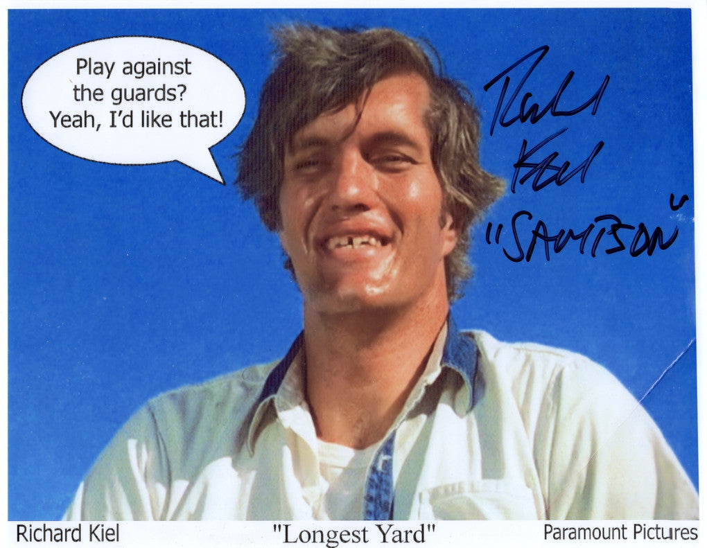 JAMES BONDS RICHARD KIEL & BURT REYNOLDS IN PERSON SINGED PHOTO FROM 1974 FILM THE LONGEST YARD