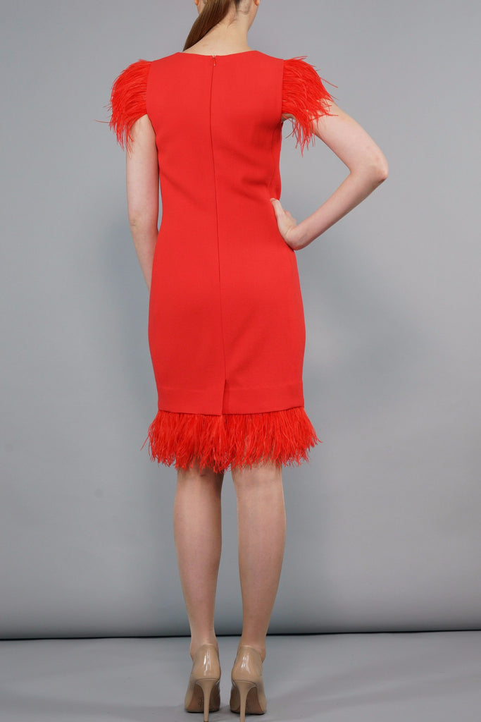 Telephone Red Wool Crepe Dress With Ostrich Feathers
