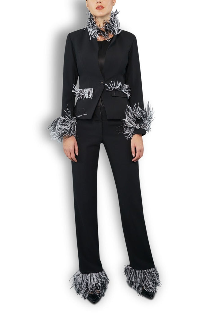 Black Wool Crepe Trouser with Feathered Trim