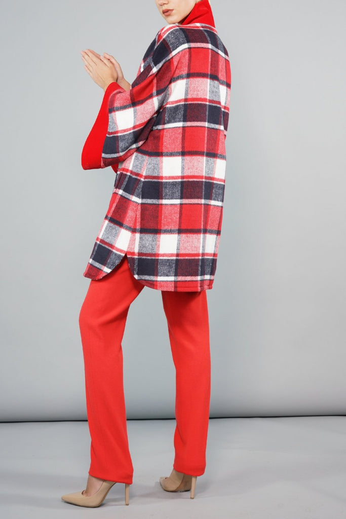 Swing Back Coat - Red and Cream Check Wool