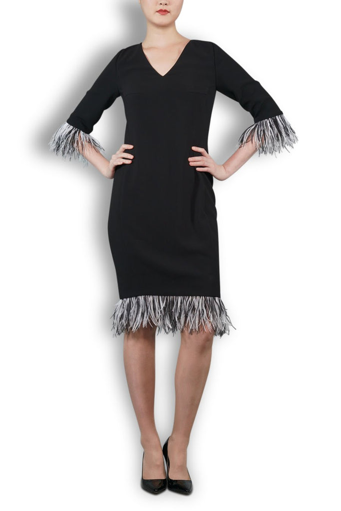 Black Italian Wool Crepe Dress With Feathered Trim