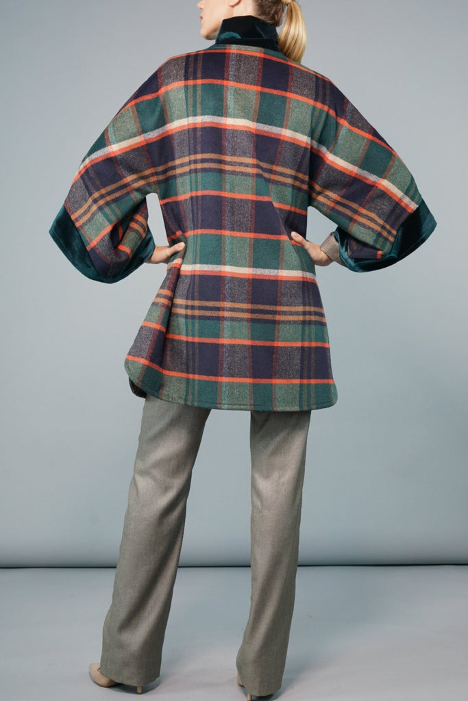 Swing Back Coat - Grape and Green Check Wool