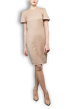 Beige Wool Crepe Tailored Dress - Round Neck Short Sleeve