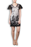 *Limited Edition* Italian Flock Black and Silver Satin Dress