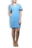 Sky Blue Wool Crepe Tailored Dress - V Neck Full Sleeve