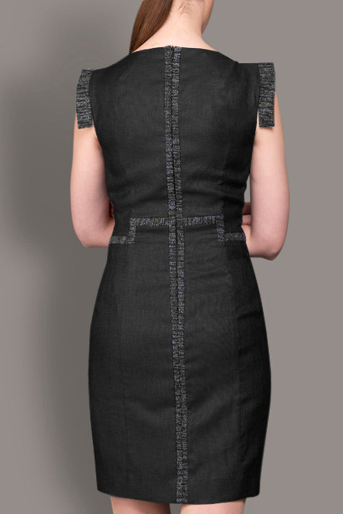 The Claire - Black Linen Look Tailored Dress