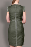 The Claire- Khaki Linen Look Tailored Dress