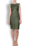 Khaki Linen Look Tailored Dress