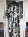 Black White and Grey Stretch Floral Silk Groovy D23 Dress Large