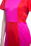 Pink and Red Stretch Italian Wool Chequer Board Dress