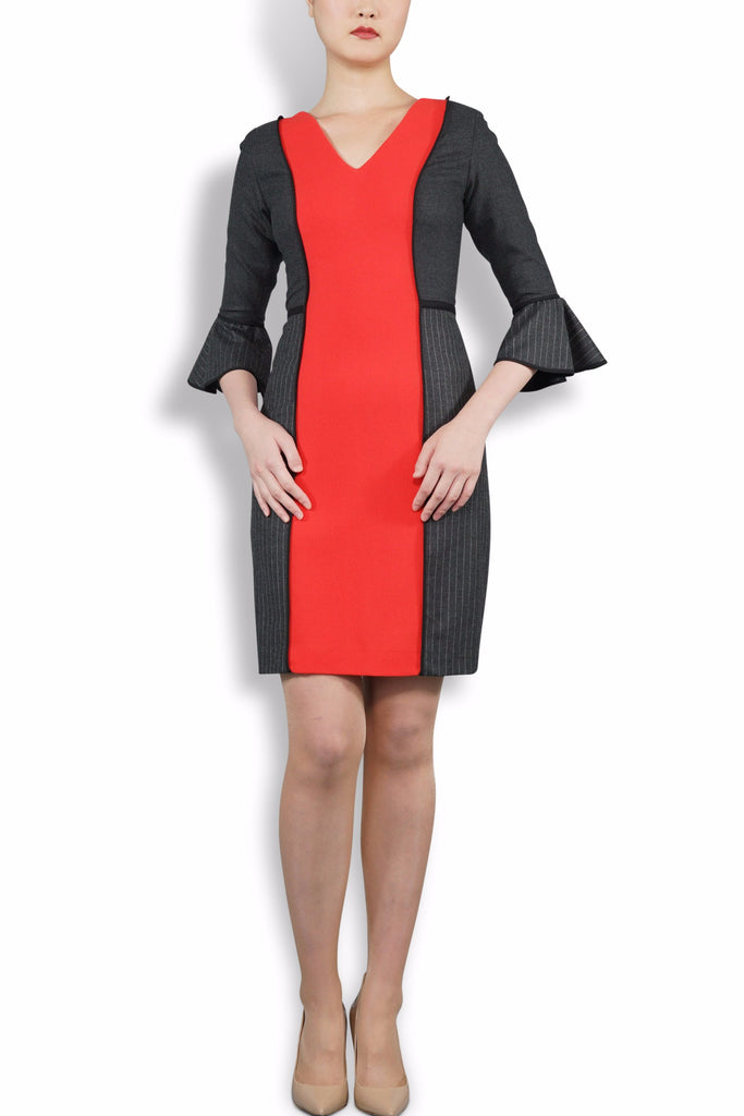 Black and Telephone Red, Bell Sleeved, V Neck Dress