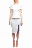 Angie Lau Light Cream Pencil Skirt