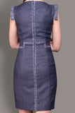 The Claire- Indigo Blue Linen Look Crepe Dress
