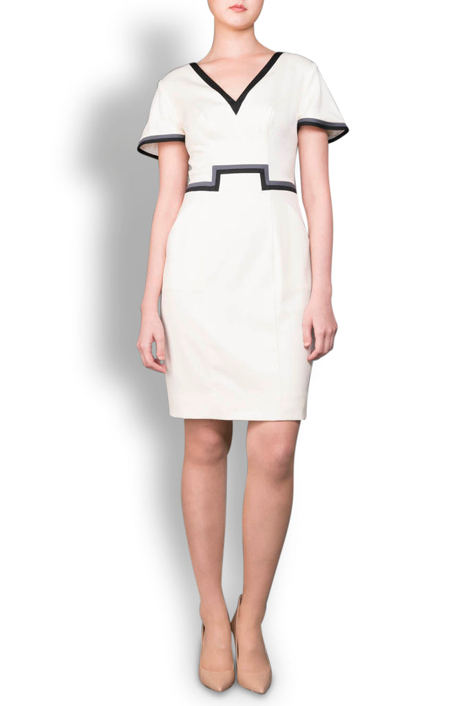 The Pippa - Cream Stretch Italian Wool Tailored Dress with Trim Detail