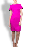 The Sacha - Fuchsia Stretch Italian Wool Short Sleeve Dress