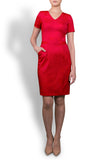 The Sadie - Scarlet Red Stretch Italian Wool V Neck Dress