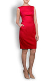 The Rose-Scarlet Red Stretch Italian Wool Sleeveless Dress