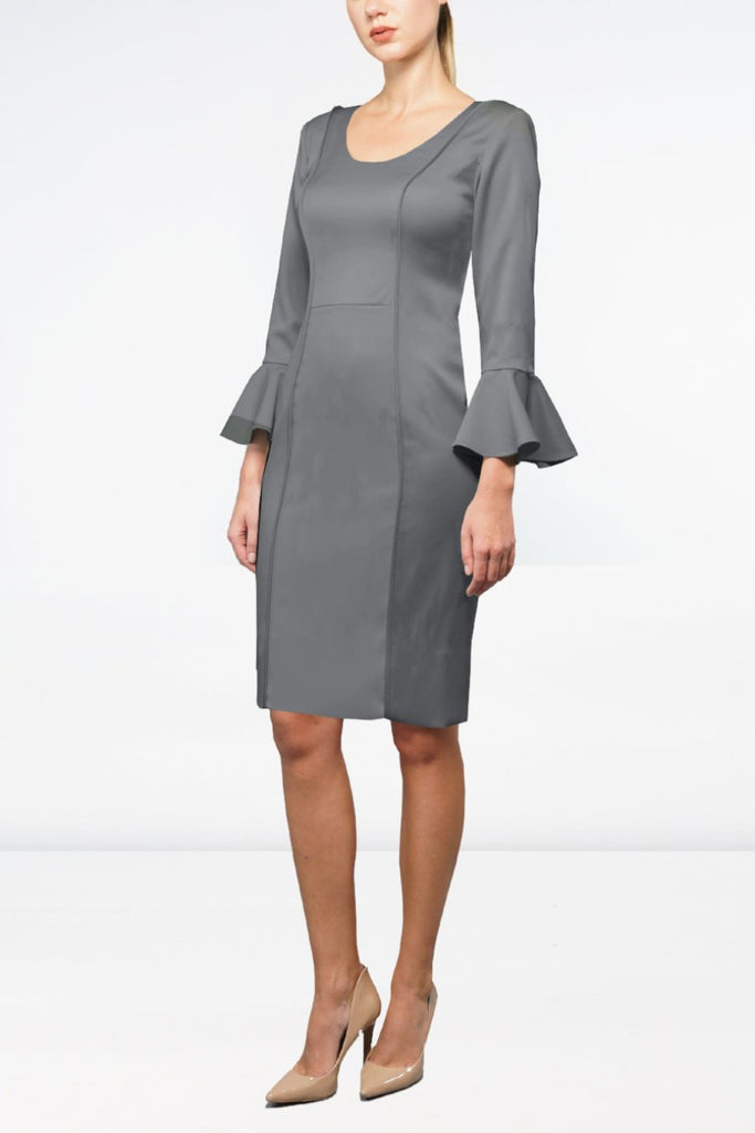 Grey Italian Wool Crepe Tailored Dress