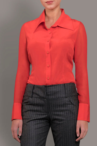 fde32de6c4046 Scarlet Red Stretch Silk Blouse – Isabella Wren