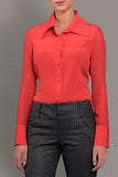 Scarlet Red Stretch Silk Blouse
