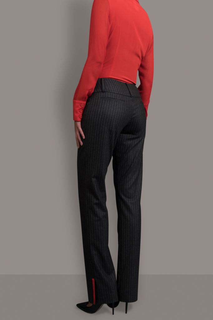 Pinstripe Charcoal Grey Soft Wool Trouser