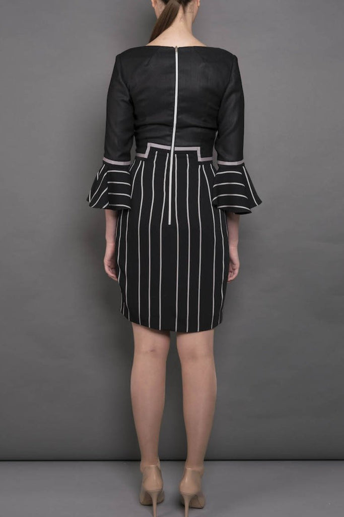 The Lottie - Black Linen Look Crepe Dress with Stripe Detail