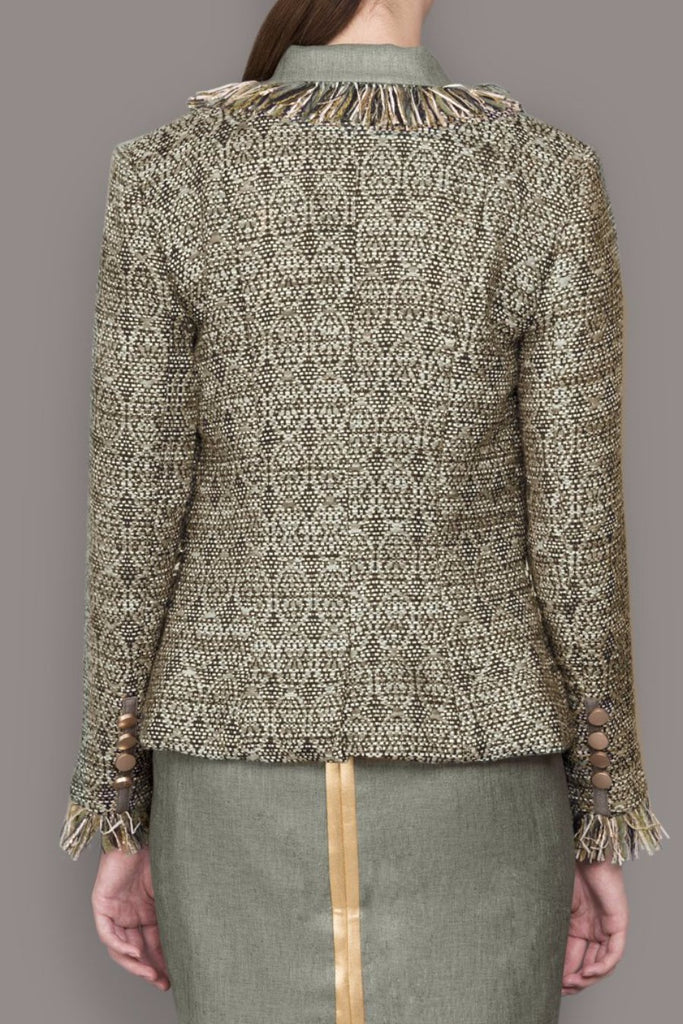 Bronze and Gold Tweed Blazer with Tassel Trim