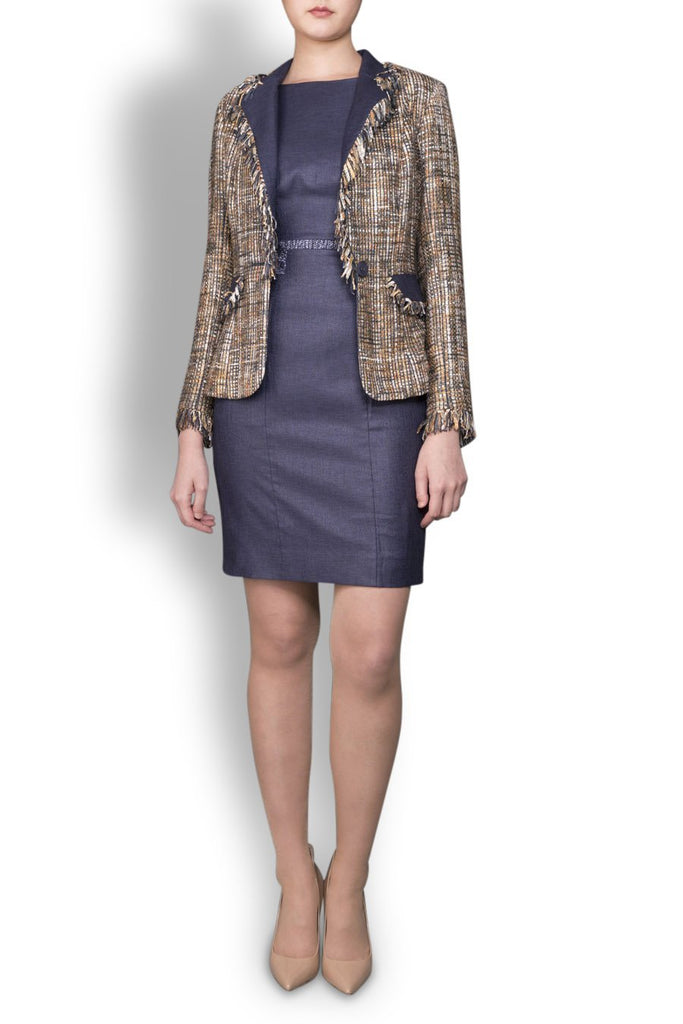 Indigo Blue Linen Look and Tweed Blazer with Tassel Trim