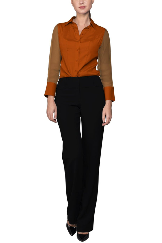 Crepe de Chine Orange Silk Wide Collar Blouse