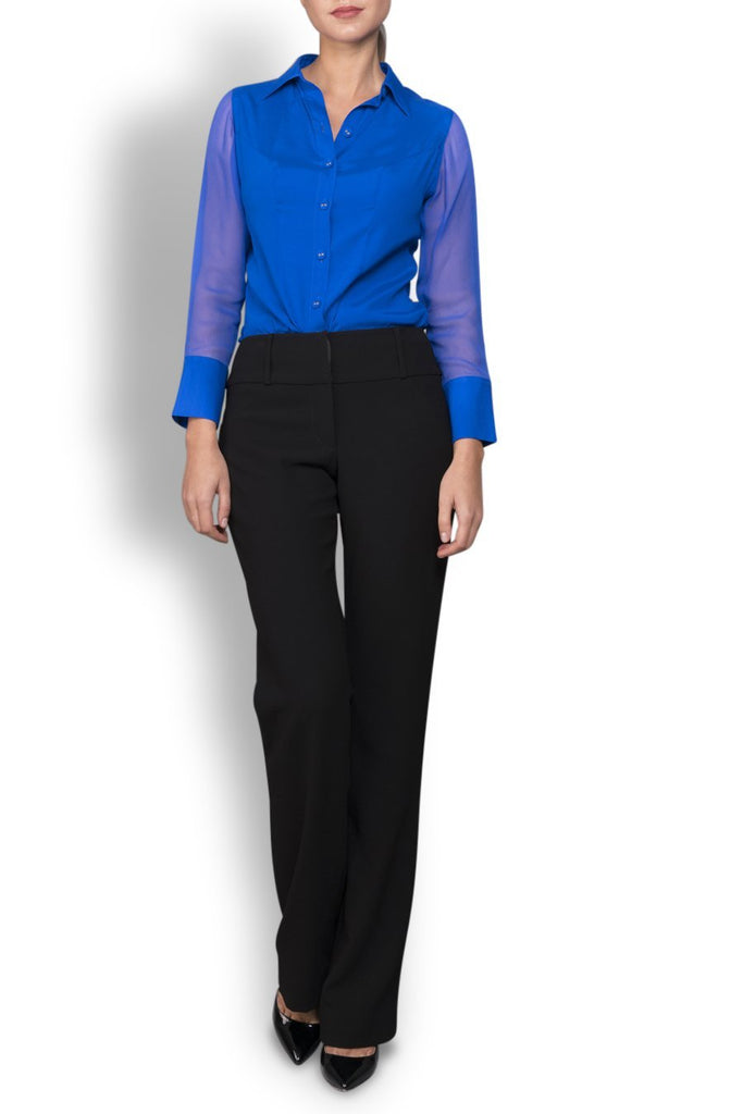 Bright Blue Stretch Silk Blouse