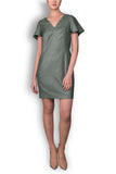 Khaki Linen Look Tailored Dress with Gold Trim