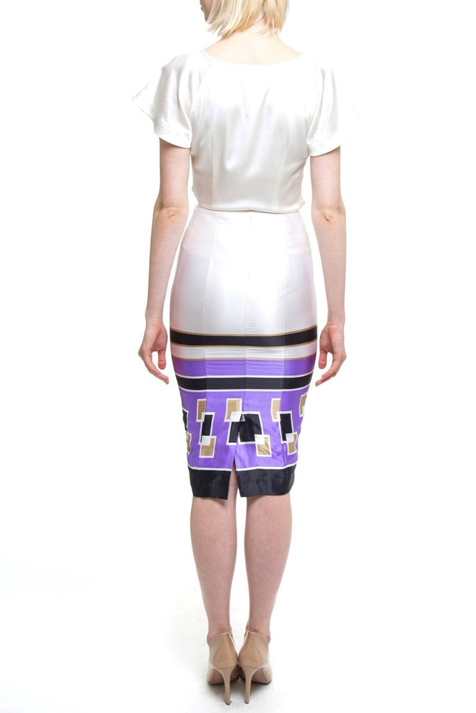 White And Purple Geo Pencil Skirt