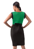 The Bella-  Emerald Green Wool and Onyx Black Crepe
