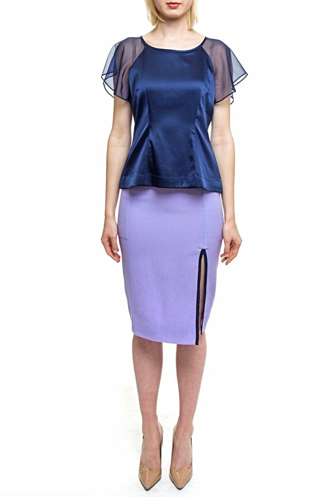 Angie Lau Navy Silk Illusion Sleeve Top
