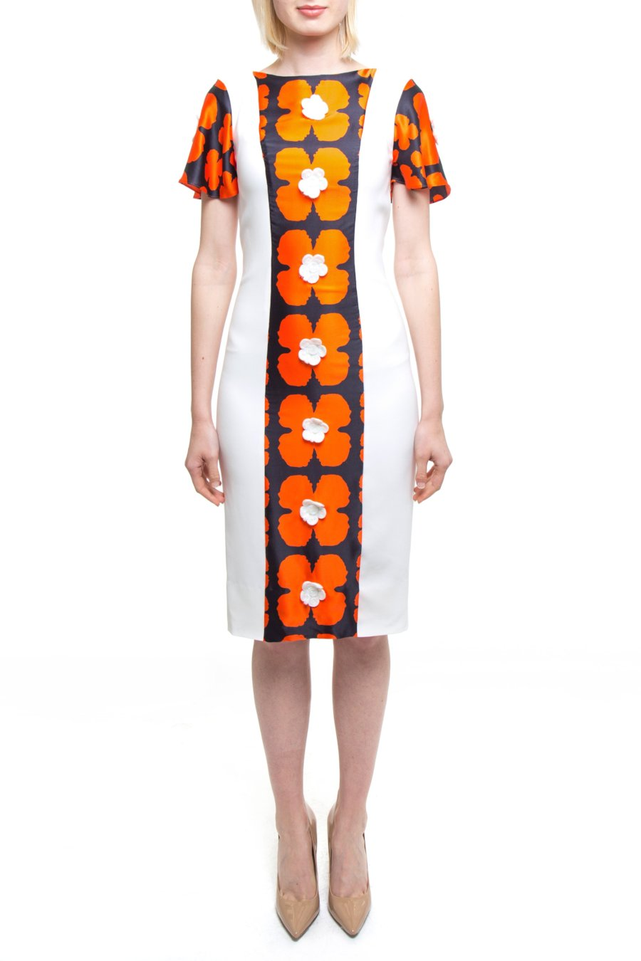 Orange And White Floral Dress