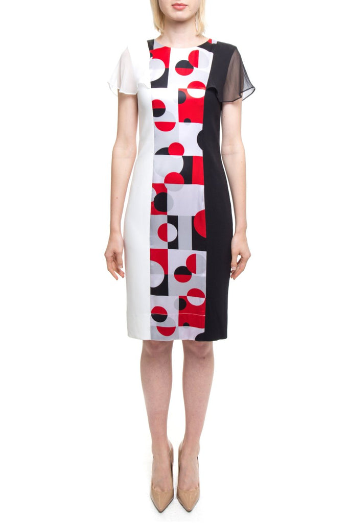 Black White Red Grey Geo Dress