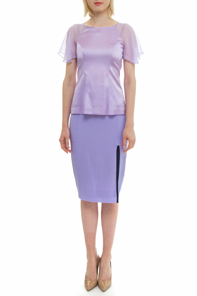 Angie Lau Purple Silk Illusion Sleeve Top