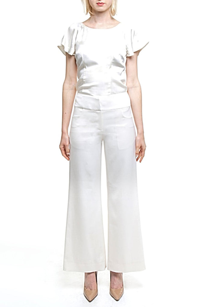 Angie Lau Perfect Cream Wool Pants