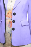 Angie Lau Purple Wool Crepe Blazer with Navy Accents