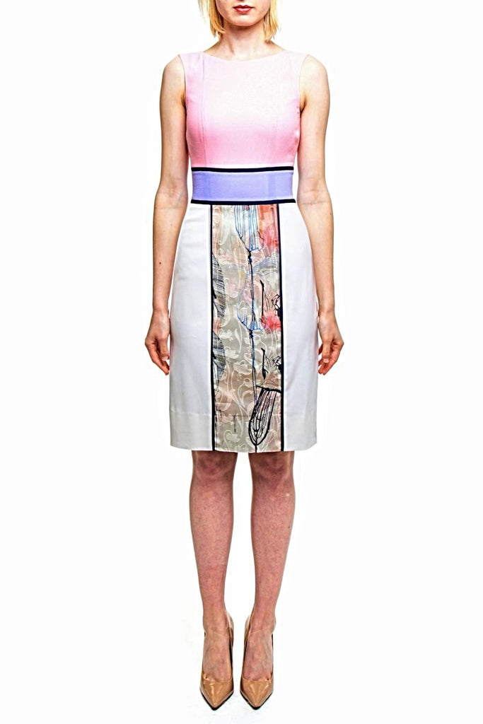Angie Lau Pink, Purple and Print Block Dress