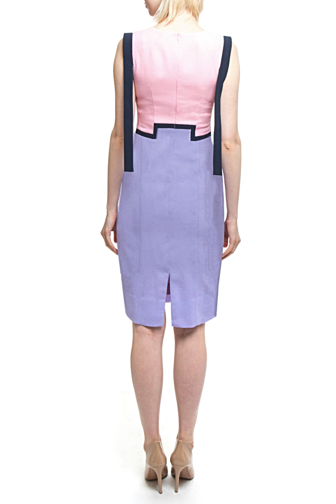 Angie Lau Tab Sleeved Dress in Soft Pinks and Purples