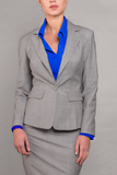 Isabella Wren Heather Grey Wool Blazer (front view)